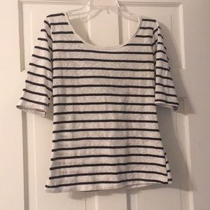 Blue and white stripped top with bow